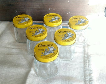 NOS Vintage Glass Oster Osterizer Mini-Blend Container 8 oz. Storage Jars With Lids SET Of SIX Blend And Store