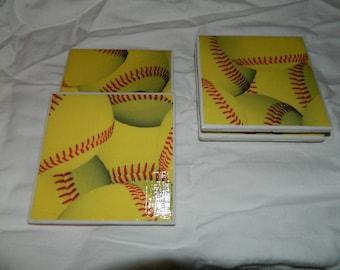 Softball Ceramic Tile coasters
