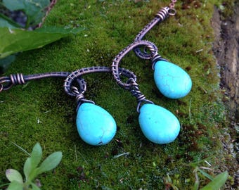 Copper Wire Wrapped Blue Howlite Necklace