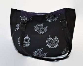 Zelda Tote Bag - Majora's Mask Shoulder Bag - Canvas and Leather Legend of Zelda Bag - Gamer Gift - Geek Chic - Hand Crafted Large Hobo Bag