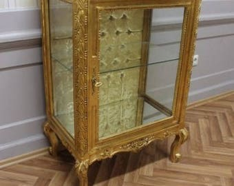Baroque display case showcase box Cabinet antique style AlVi0252GoGoDia
