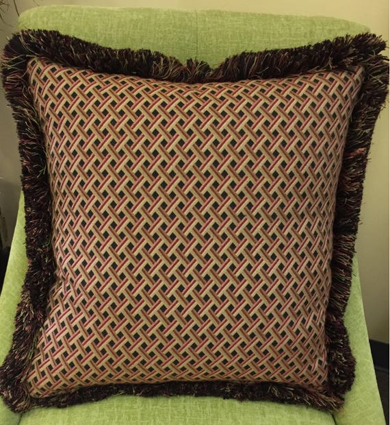 Red Green Basket Weave Throw Pillow