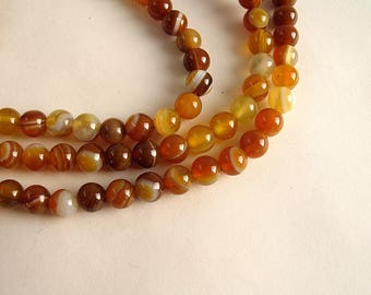 30 Tan caramel agate 6mm beads