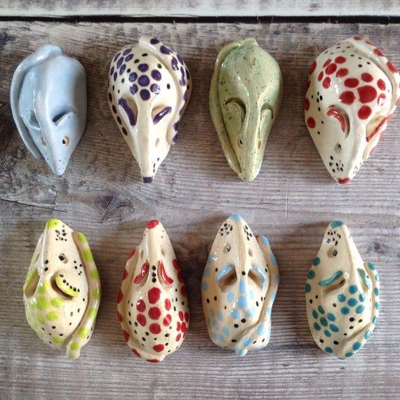 Ceramic mice, tiny, handmade, colourful, patterned, fun, cute