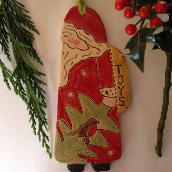 PRE-ORDER Handmade ceramic Santa, hanging decoration, christmas decoration, ornament, folkart santa, handglazed, detailed, Father Christmas
