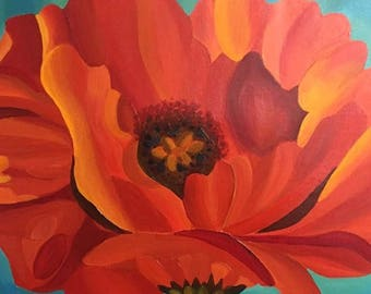 Red Flower Original Painting