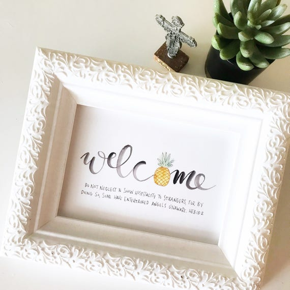 Catholic Prints * Catholic Home Decor * Christian Home Decor * Housewarming Gift* Painted Pineapple * Handlettered Prints * Scripture Prints