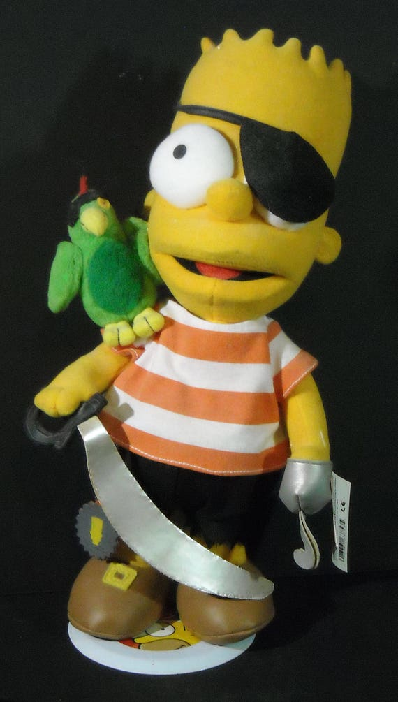 Vintage Bart Simpson Pirate Doll - the Rare one with the Parrot, Hook, Eye Patch, and Sword on stand with all tags
