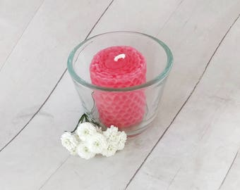Love candle, energy candle, votive candle, beeswax candle, Reiki energy candle, intention candle, pink, unscented candle, rose, eco friendly