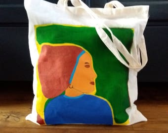 Hand-painted cotton bag, totetas, carrying case, bag