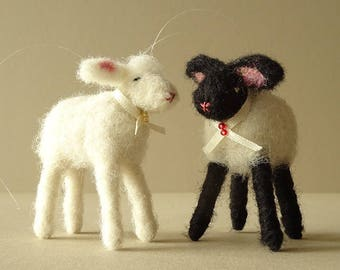 Tree Ornaments | Christmas Ornaments | Sheep Ornaments Needle Felted Farmyard Animals | Lamb Ornaments | White Lamb | Black Sheep Figurines