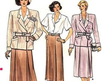 Vogue 9196 Haute Big Shouldered Jacket, Skirt & Blouse / 1985 SZ6-10 UNCUT