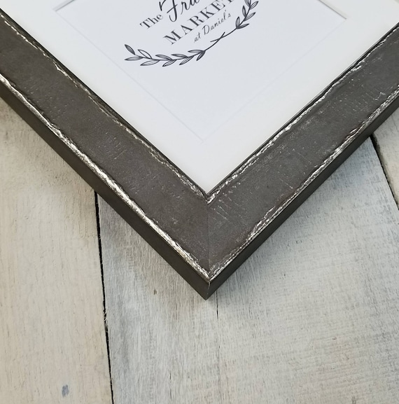 Edda Gray Wood Picture Frame With White Mat 8x10 9x12