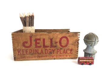 Jell-O Dovetailed Wood Box - Vintage Jello - Wooden Box - Kitchen Decor - Country Decor - Farmhouse - Advertising Display