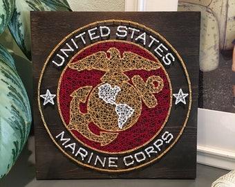 "12"" USMC Marine Corps String Art Sign"