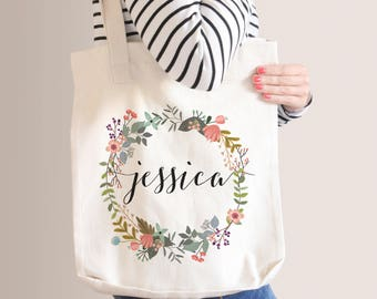 Personalized Floral Tote Bag | Bridesmaid Tote Bag | Bridesmaid Gift | Floral Round Wreath | Custom Name Canvas Tote Bag | Sister Gift