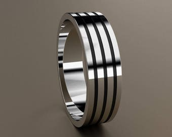 10kt Gold 6mm Mens Wedding Band, Mens Gold Wedding Ring Unique Triple Grooves with Black Antiquing, 3 Line Minimalist 6 mm Mans Wedding Band