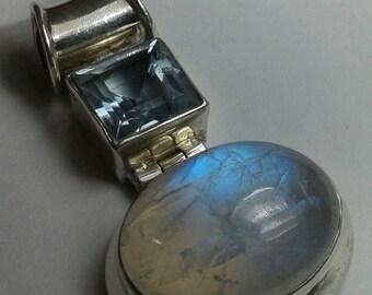 Moonstone Aquamarine Sterling Silver Pendant