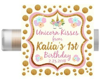Unicorn Personalized Lip Balm | Unicorn Chapstick | Girl Birthday | Party Favors | Unicorn Birthday Party | Unicorn Party Invitation
