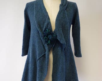 Ocean blue knitted cardigan, M size.