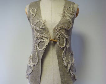 The hot price. Taupe boho vest, M size. Made of pure linen.