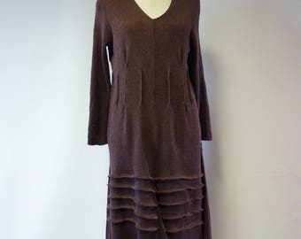 The hot price!!  Knitted brown linen dress, XL/XXL size.