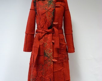 Winter sale. Handmade amazing red wool coat, S/M size.