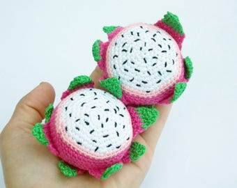 1 Pcs - Crochet Dragon fruit,Fruit crocheted, teether teeth, play food, kitchen decoration,eco-friendly toys,Pretend Play, Baby toy gift