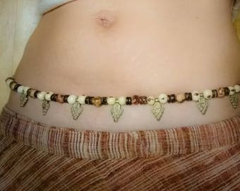 Belly chain hip jewel belt from coconut & Acai beads, vintage brass ornaments of course tribal boho