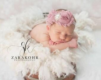 Mauve Baby Headband - Mauve Headband - Baby Girl Headband - Dusty Pink Headband - Newborn Headband - Shabby Chic Headband - Dusty Pink Bows