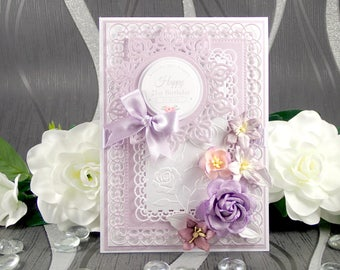 Birthday Card for Her, Personalised Birthday Card, Luxury Handmade Birthday Card, Floral Birthday Card, Boxed Birthday Card