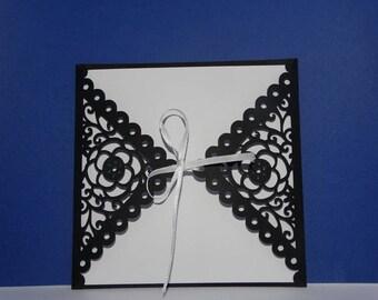 Envelope lace flower wedding invitation