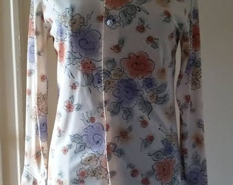 70s Floral Shirt with Butterfly Collar