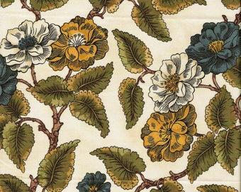 Tissu coton  Classiques Branchages sur fond creme