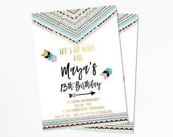 Modern Boho Birthday Invitation - Printable
