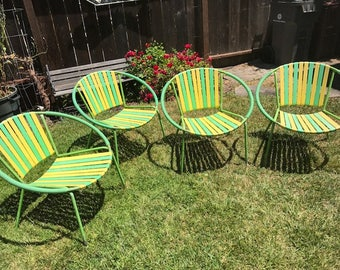 rare vintage midcentury hoop strap outdoor chairs - Vintage Patio Furniture