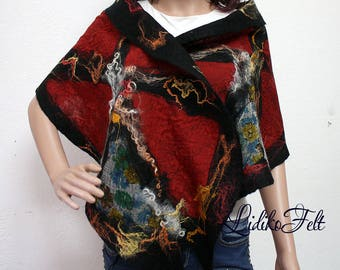 BLACK RED Nunofelted Boho Gypsy Hippie Wool Scarf Multicolored