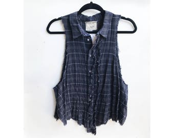 Cropped Button Up Racer Back Plaid Shirt - Size XS