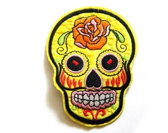 Yellow Sugar Skull Embroidered Patch Appliqué Skull and Crossbones