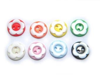 10 Assorted Flower Buttons