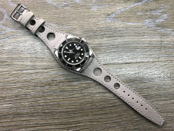 Leather watch band, Handmade, Gray, Full bund strap, Leather Cuff watch Strap 20mm, Racing Watch strap, Rally Watch Band, Cuff leather band