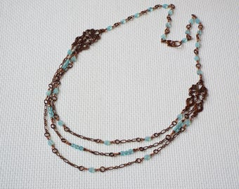 Delicate pale aqua  glass bead and chain necklace