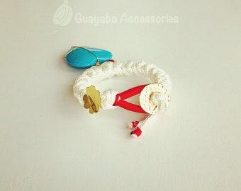 White Bracelet. Turquoise charm. Handmade Bracelet.