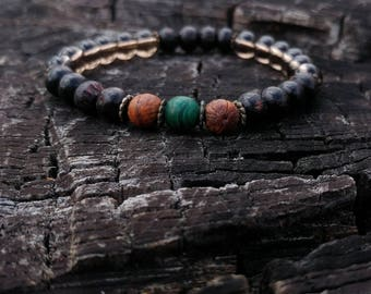 Malachite / Rosewood / Smoky Quartz Wrist Mala // Gemstone Yoga Bracelet // Men's Yoga Bracelet // Unisex Wrist Mala Bracelet