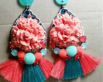 OOAK boho chic floral earrings with PomPoms and tassels earrings siennas ready to be shipped for FREE