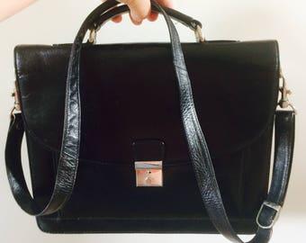 Vintage leren akte tas| leren attache koffer| office bag | long strap | lots of space| 90's