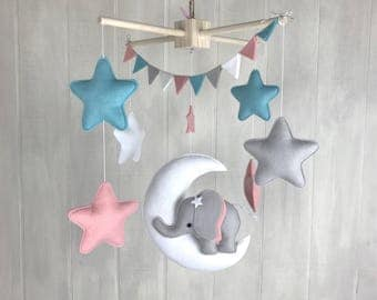 Baby mobile - cloud mobile - hot air balloon mobile - namelove collection - baby crib mobile - baby name - pink -