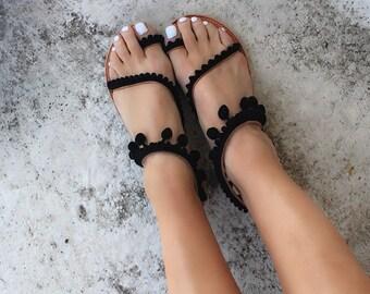Handmade Greek leather Sandals/ Boho,  Sandals/Pom Pom/ Flat Sandals/Gladiator Sandals/Black/Strappy sandals/woman sandals/Festival sandals