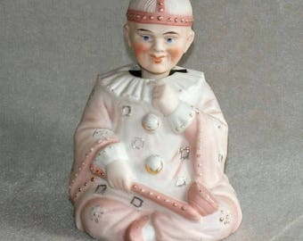 Antique Victorian Continental Bisque Nodding Head Figurine of a Boy Dressed as a Clown (ref: 5030)