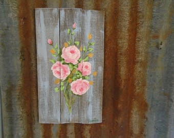 Vintage Pink Roses Original Hand Painted Pink Roses on a Stunning French Blue Background Shabby Chic Beach Cottage, Romantic Country Decor